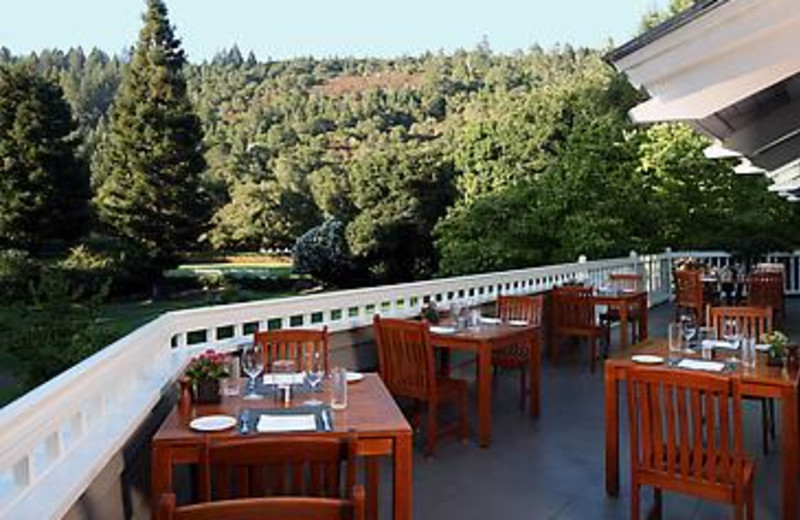 Outdoor dining at Meadowood Napa Valley.