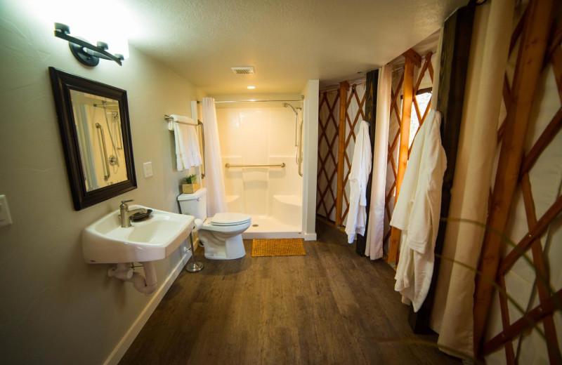 Guest bathroom at Escalante Yurts.