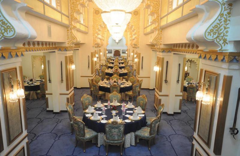 Banquet hall at Fateh Prakash Palace Hotel.
