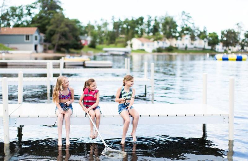 Jumping in lake at Madden's on Gull Lake.