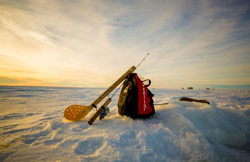Ice fishing at River Bend's Resort & Walleye Inn.
