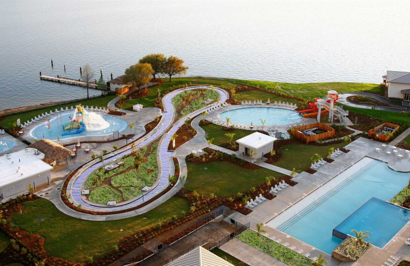 Aerial view of water park at La Torretta Lake Resort & Spa.