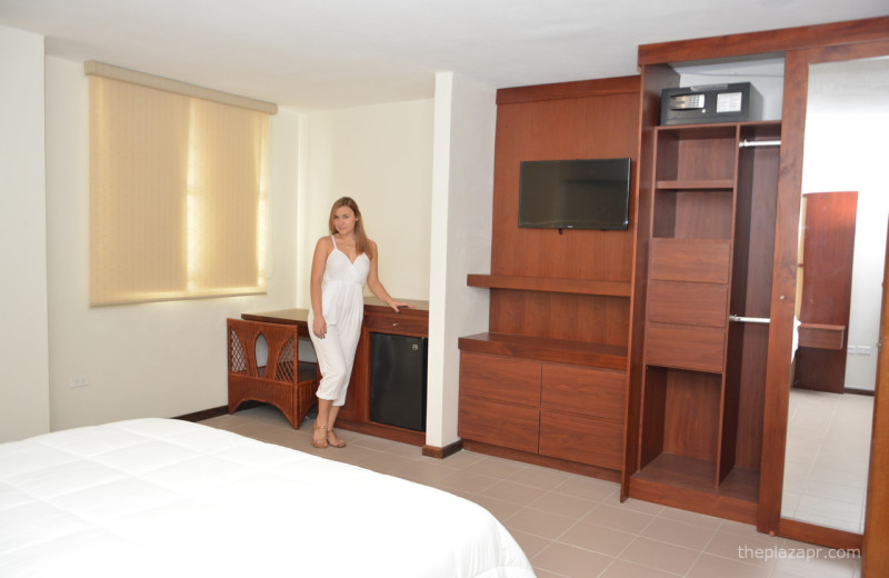Guest bedroom at The Plaza Suites.