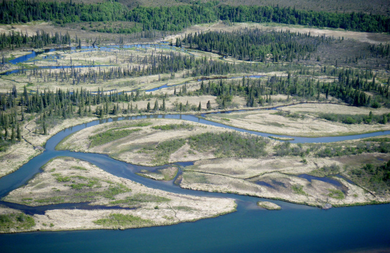 Aerial view of Alaska Trophy Adventures Lodge.