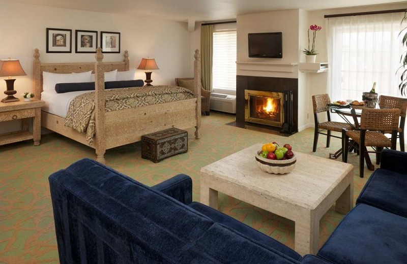 Fireplace guest room at PruneYard Plaza Hotel.