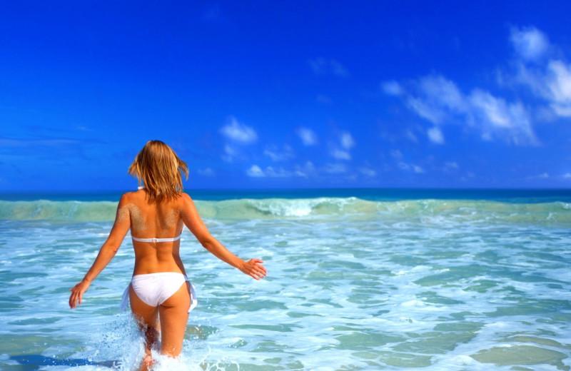 Swimming at the beach at Boca Ciega Resort.