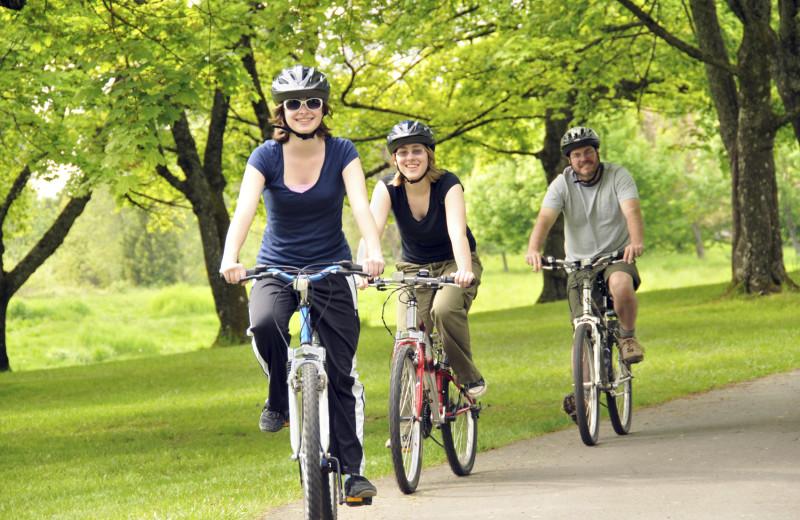 Biking at Aurora Park Cottages.