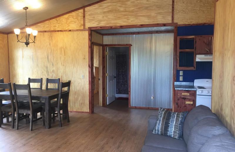 Cabin interior at Anglers White River Resort.