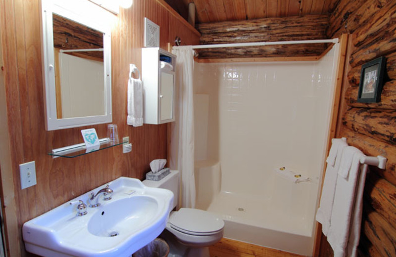 Cabin bathroom at Silverwolf Log Chalet Resort.