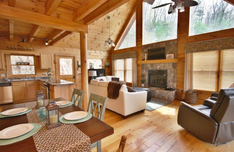 Cabin interior at Smoky Mountain Getaways.