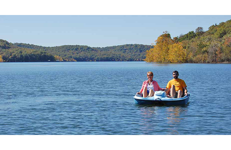 Paddle boat at Beaver Lakefront Cabins.