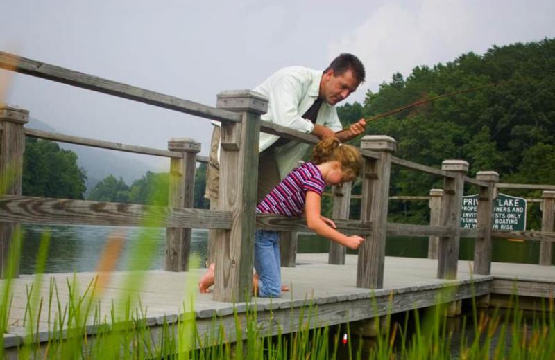 Fishing at Rumbling Bald Resort.
