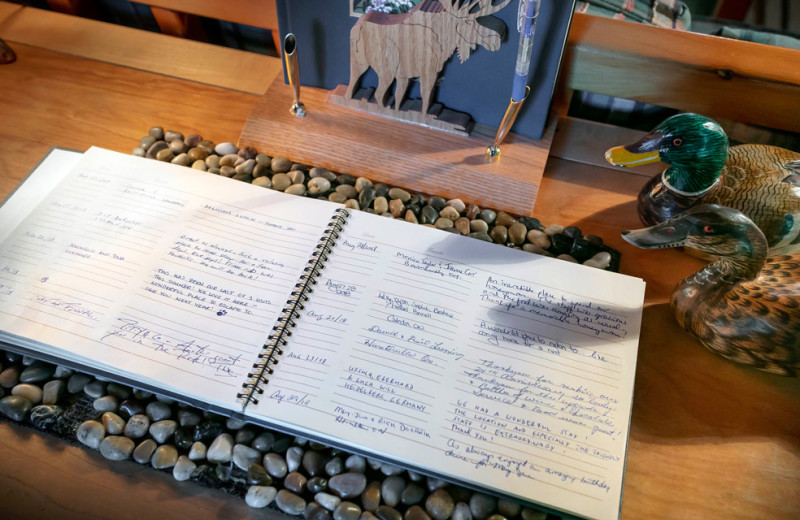 Guestbook at Killarney Lodge in Algonquin Park.