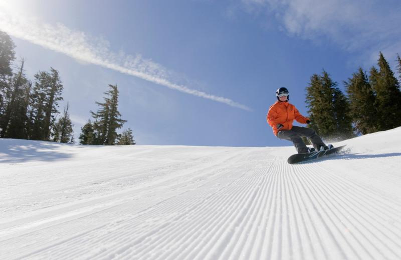 Snow boarding at Sugar Bowl Resort.