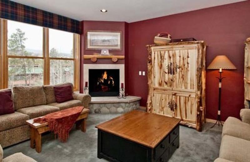 Rental living room at The Corral at Breckenridge Resort Condominiums.