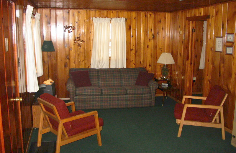 Cabin living room at The West Shore Resort.