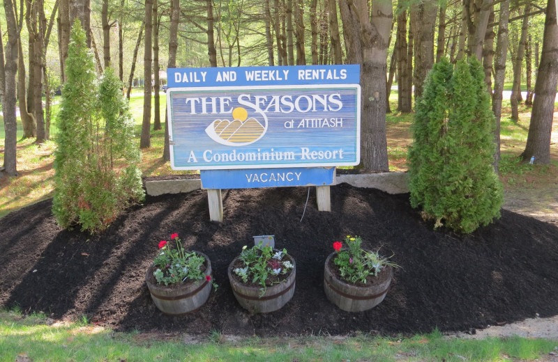 Welcome sign at The Seasons Resort.