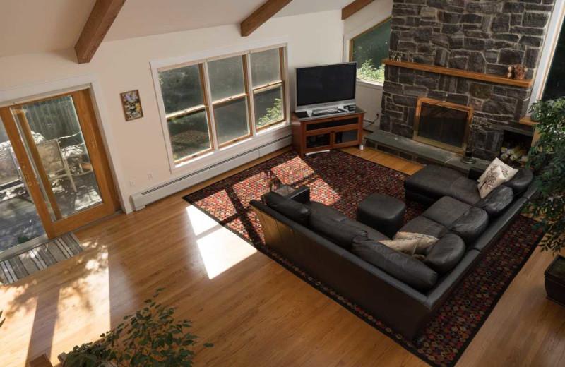 Rental living room at Acadia Cottage Rentals.
