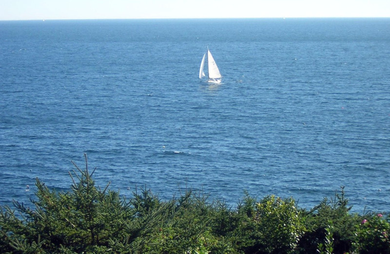 Sail boat at Riverview Lobster Pound Cottages.