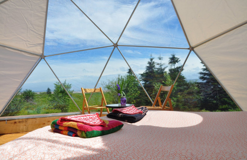 Dome interior at Cabot Shores Wilderness Resort.
