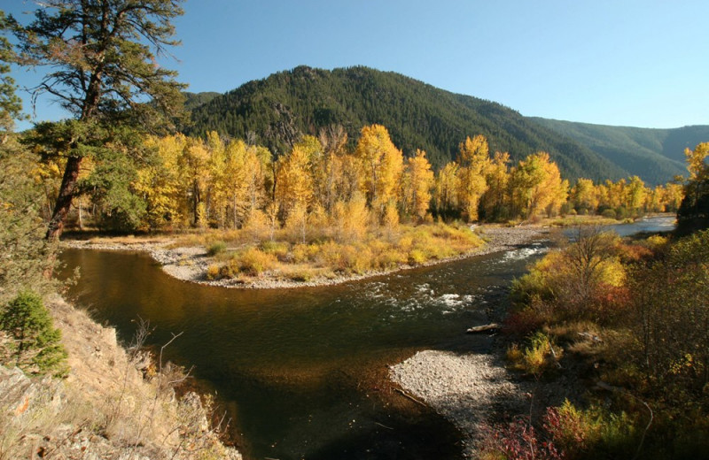 Scenic mountain view at Clark Fork River Lodge.