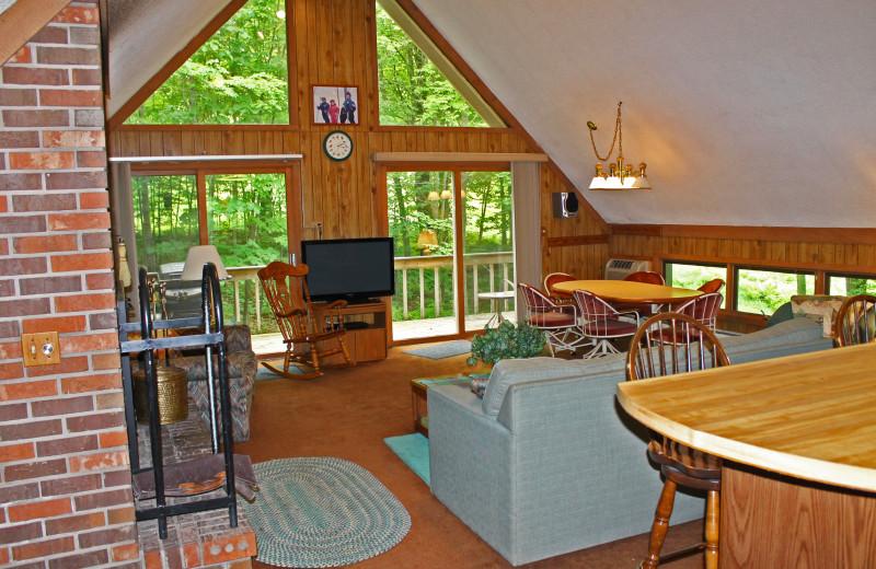 Vacation rental living room at Big Powderhorn Lodging.
