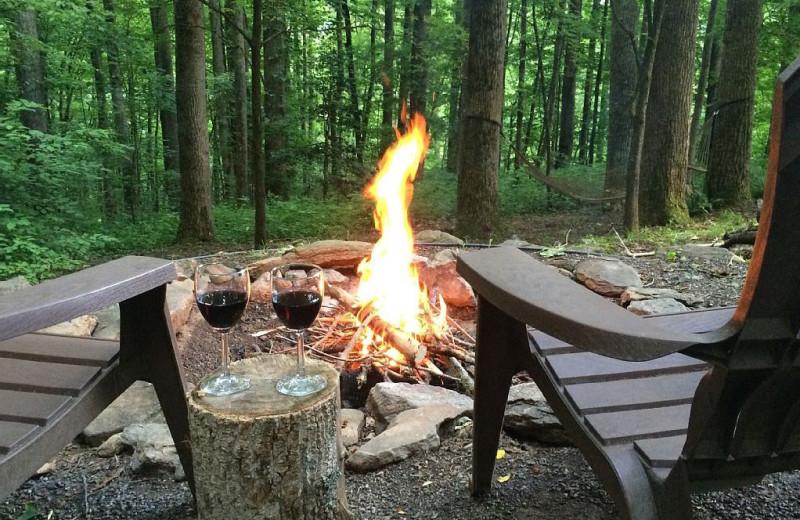 Bonfire at Smoky Mountain Getaways.