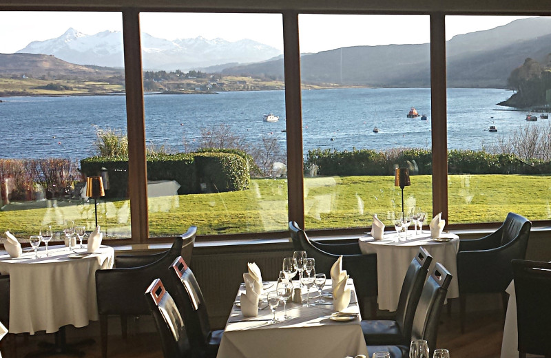 Lakeside dining at Cuillin Hills Hotel.