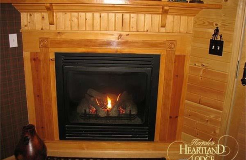 Fireplace at Harpole's Heartland Lodge.