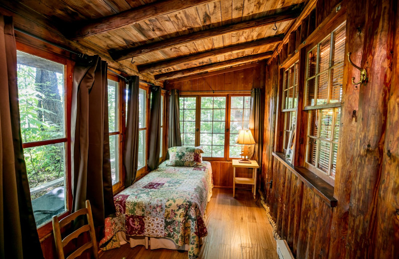 Cabin bedroom at Ludlow's Island Resort.