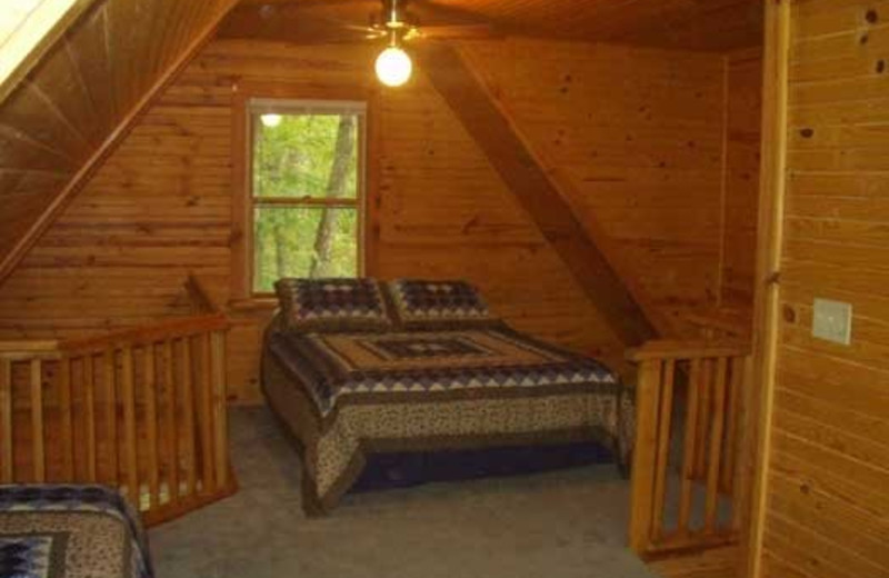 Cabin bedroom at Rockin Z Ranch.