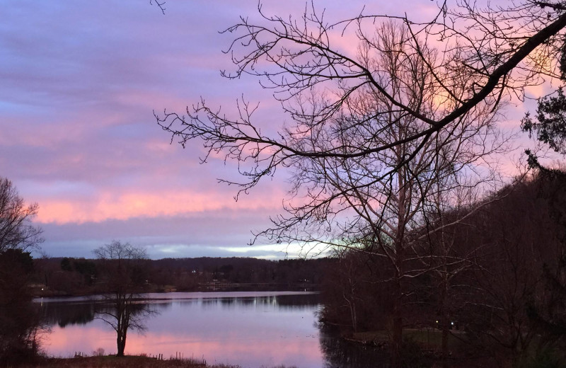Sunset at Chateau Lake Logan.