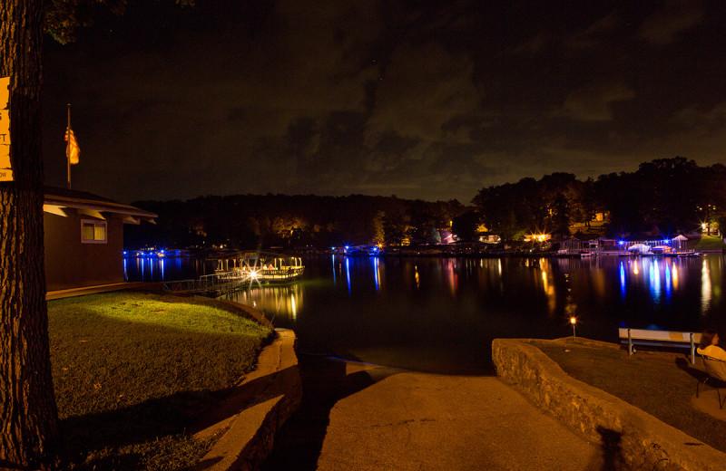 Night view of Bass Point Resort.