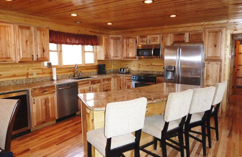 Cabin kitchen at Allstar Lodging.