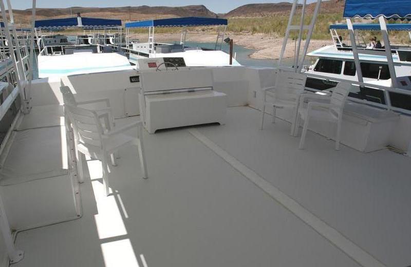Houseboat deck at Trinity Lake.