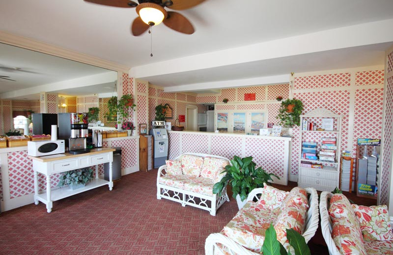 Lobby and front desk at Harrison Hall Hotel Ocean City.