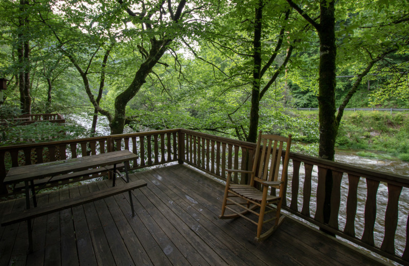 Cabin deck at Yogi in the Smokies.