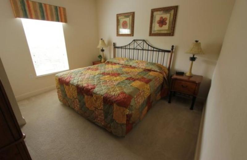 Vacation rental bedroom at Elite Vacation Homes.