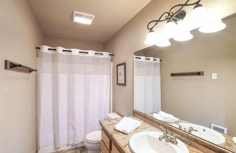 Cabin bathroom at Gentry River Ranch.