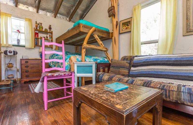 Cabin room at Creekside Camp & Cabins.