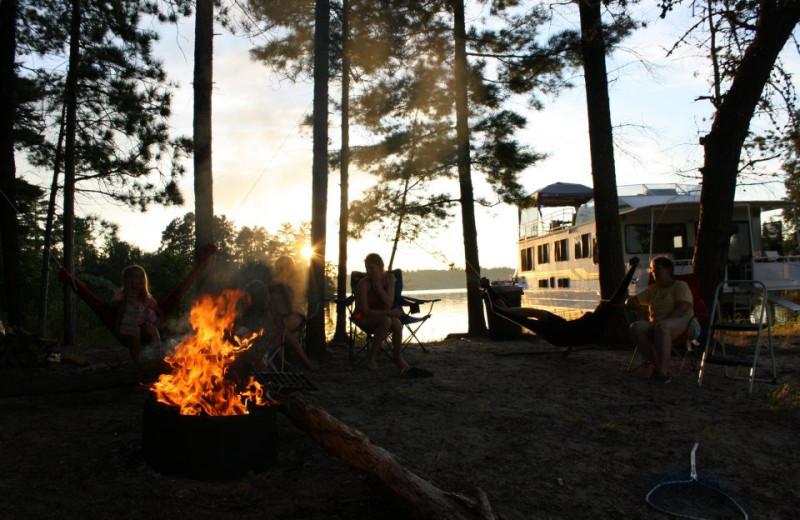 Bonfire at Rainy Lake Houseboats.