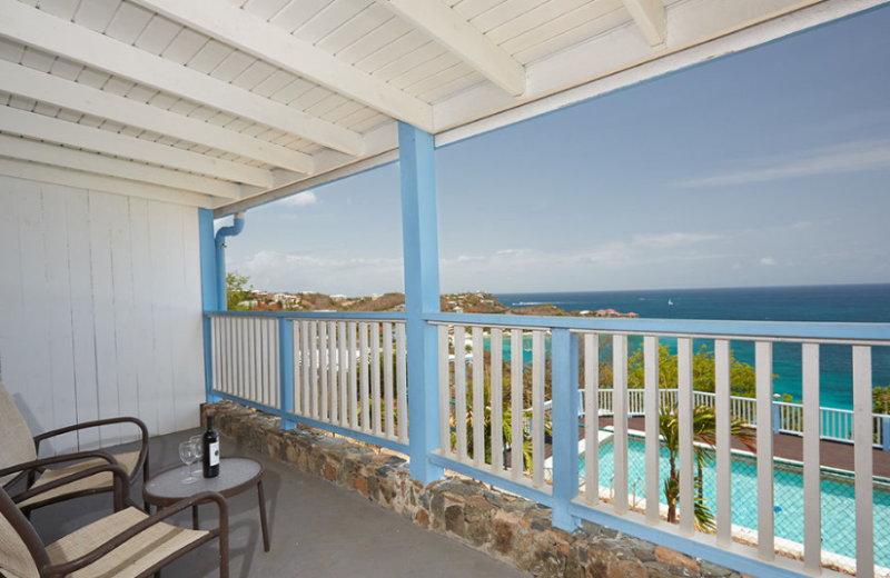 Private Balcony at Paradise Cove Resort overlooking the Ocean.