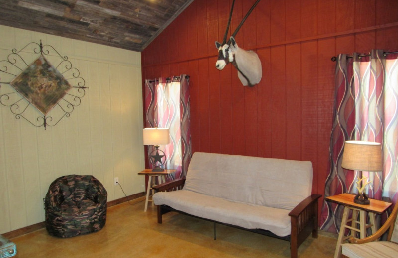 Rental living room at Frio River Vacation Rentals.