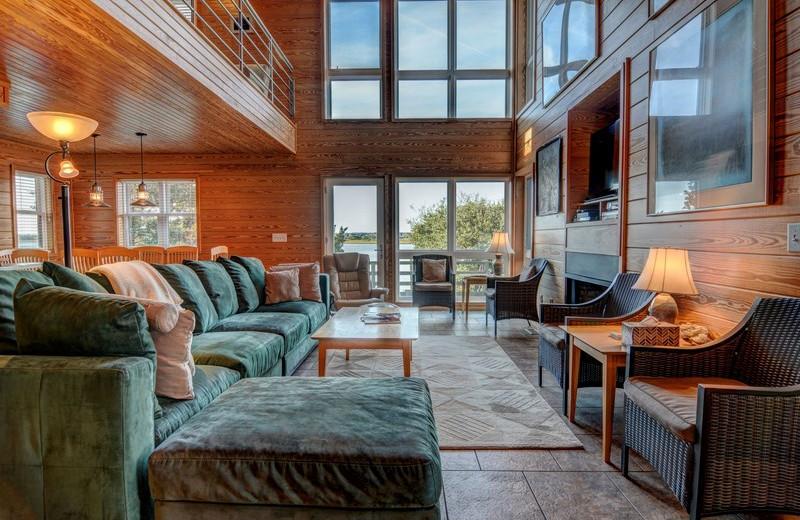 Rental living room at Topsail Realty.