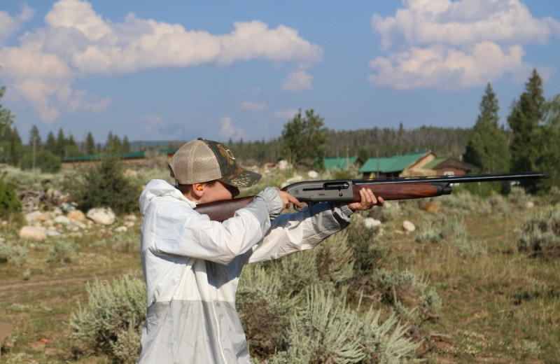 Shooting practice at Medicine Bow Lodge.