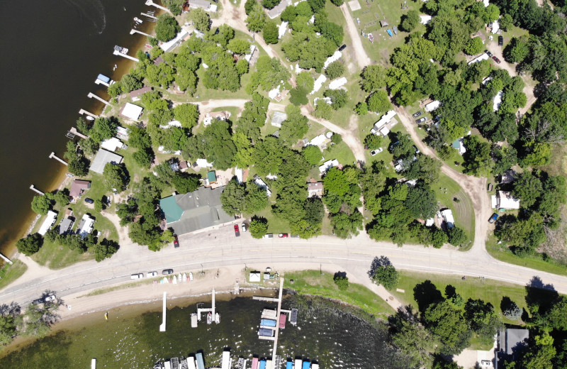 Aerial view of Ten Mile Lake Resort.
