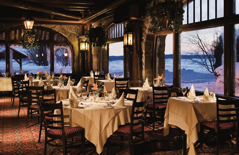 Dining room at Fairmont Le Chateau Montebello.