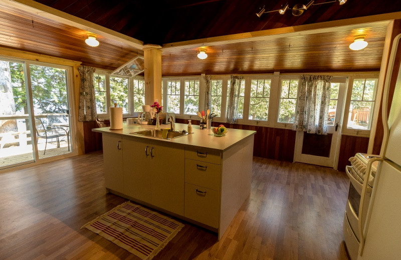 Cabin kitchen at Sandy Beach at Otter Lake.