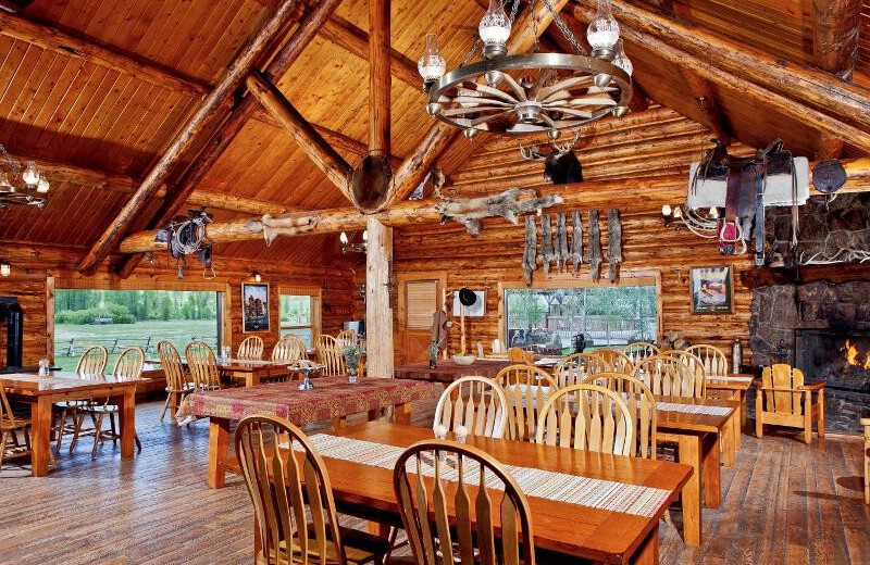 Lodge dining room at Goosewing Ranch.