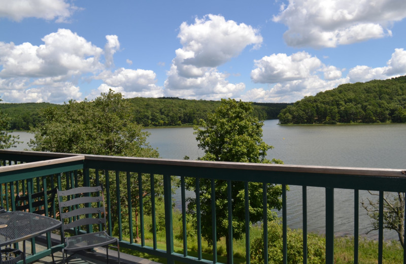 Balcony view at YMCA Trout Lodge & Camp Lakewood.